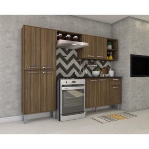Cozinha Completa Compacta com Armário e Balcão com Tampo Coimbra Multimóveis Nogueira