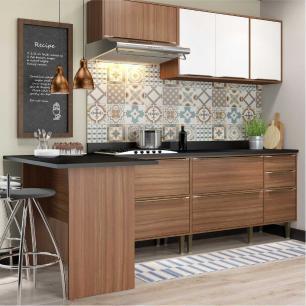 Cozinha Completa Multimóveis com 6 peças Calábria 5455 Nogueira/Branco