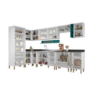 Cozinha Completa 13 peças Americana Multimóveis 5646 Branco/Verde