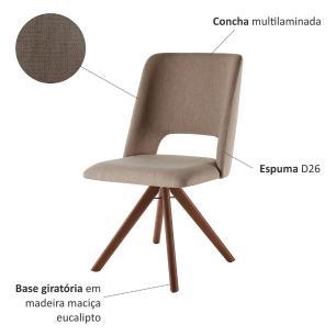 Conjunto de 02 Cadeiras de Jantar Giratória Parma Café com Leite 1777 Base Madeira cor Imbuia