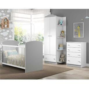 Quarto Infantil completo João e Maria Multimóveis Branco/Cinza com Berço + Guarda roupa 2 portas + cômoda 4 Gavetas