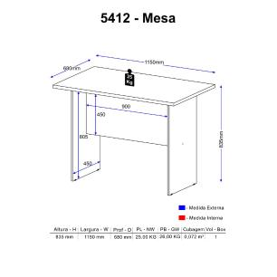 Mesa Multimóveis Calábria 115cm 5412 Nogueira
