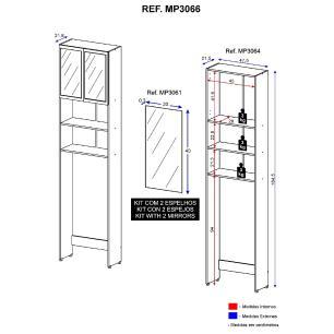 Armário de Banheiro para Vaso Sanitário com espelho e 2 portas Multimóveis Branco