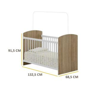 Berço Infantil Multimóveis 0515 BR/Carvalho p/Colchão 130cmx60cm