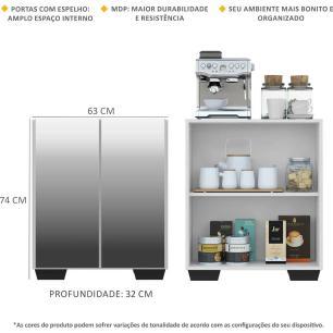 Aparador Cantinho do Café com Espelho e Pés Quadrados 2 Portas Multimóveis Branco/Preto