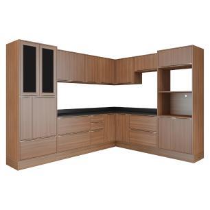 Cozinha Completa Multimóveis com 14 peças Calábria 5461R Nogueira