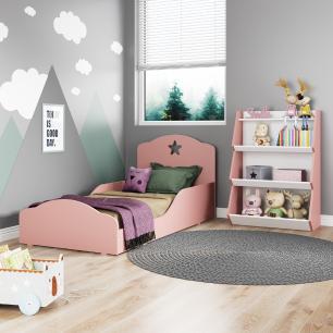 Quarto infantil com Mini Cama Montessoriana Com Colchão e Estante Zig Zag Multimóveis Rosa/Branco