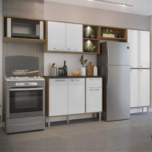 Cozinha Compacta com 2 Leds Armário e Balcão com Tampo Xangai Up Multimóveis Madeirada/Branca