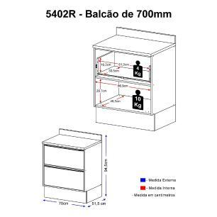 Balcão Multimóveis Calábria 70cm 5402R Nogueira com Rodapé