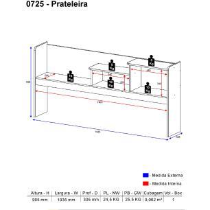 Prateleira Lateral Multimóveis para Cama / Bicama Branca REF.0725