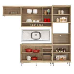 Cozinha Compacta com Pia Inox 5 peças Sicília Multimóveis MP3187 Madeirado/Branco