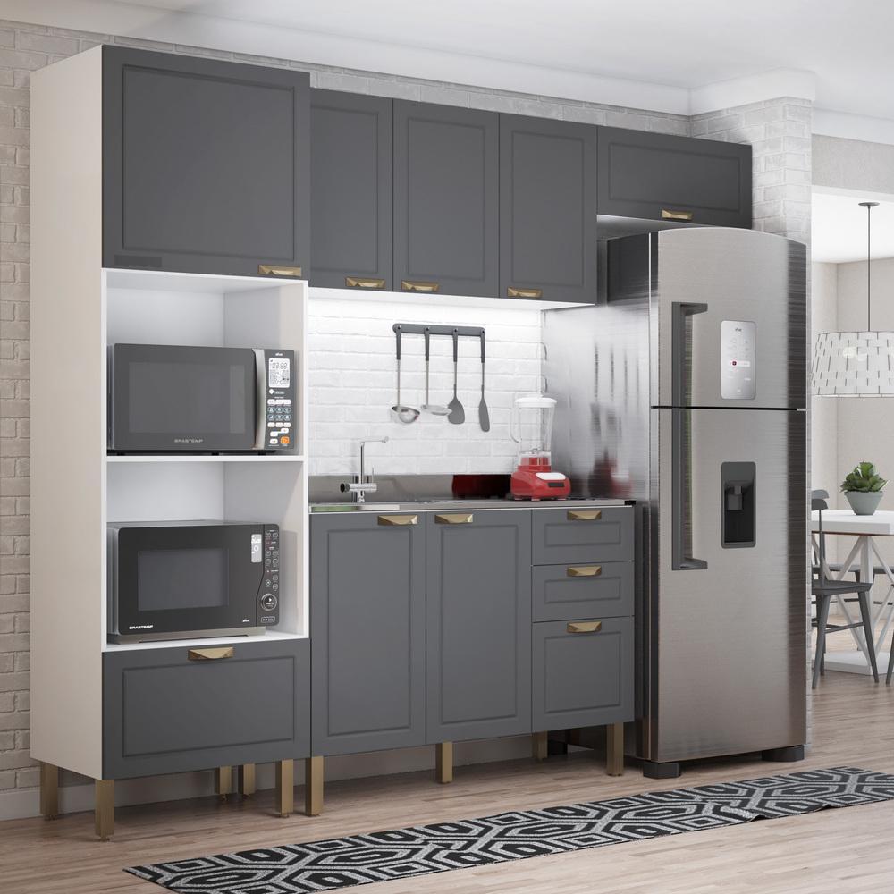 Cozinha Completa 4 peças Americana Multimóveis 5699 Branco/Grafite