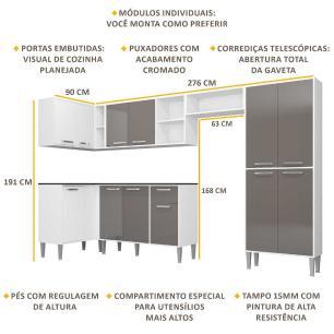 Cozinha Completa com Armário e Balcão com Tampo 6 peças Xangai Zouk Multimóveis Branca/Lacca Fumê