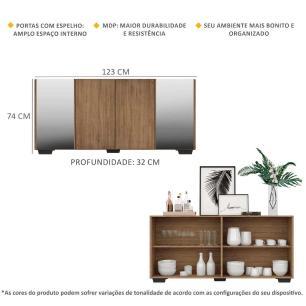 Aparador Buffet com Espelho e Pés Quadrados Vegas Multimóveis Rustic/Preto