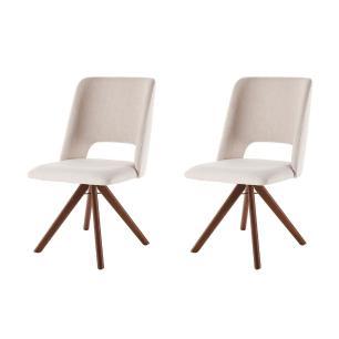 Conjunto de 02 Cadeiras de Jantar Giratória Parma Bege Claro 4612 Base Madeira cor Imbuia