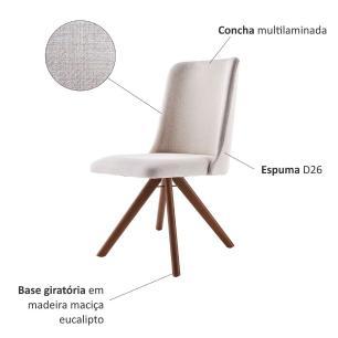 Conjunto de 02 Cadeiras de Jantar Giratória Arrezo Bege Claro 4612 Base Madeira cor Imbuia