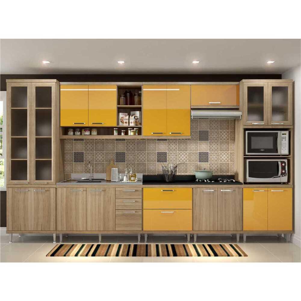 Cozinha Completa Multimóveis com 8 peças Sicília 5806 Argila/Amarelo