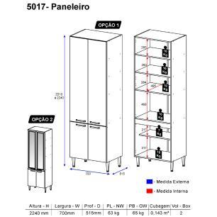 Paneleiro Profundo Multimóveis Toscana 5017-VD Argila/Branco com 4 portas e vidro