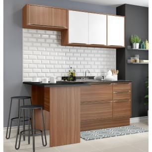 Cozinha Completa Multimóveis com 5 peças Calábria 5460R Nogueira/Branco