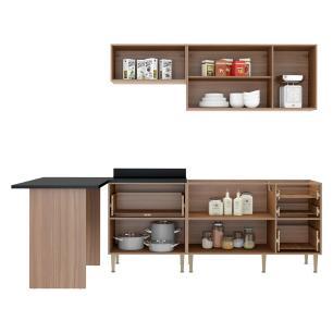 Cozinha Completa Multimóveis com 5 peças Calábria 5455 Nogueira