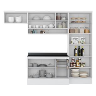 Cozinha Completa Compacta com Armário e Balcão com Tampo Hollywood Multimóveis Branco/Preto
