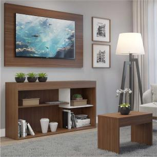 Rack com painel para TV até 55 polegadas e mesa de centro Sevilha Multimóveis Nogueira/Branco