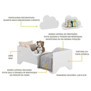 Minicama Soninho com 2 Prateleiras Nuvem Multimóveis Branco REF. 2816.156