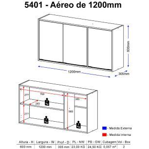 Aéreo Multimóveis Calábria 120cm 5401 Nogueira/Branco