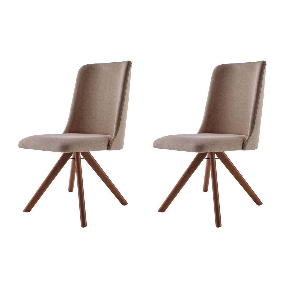 Conjunto de 02 Cadeiras de Jantar Giratória Arrezo Café com Leite 1777 Base Madeira cor Imbuia