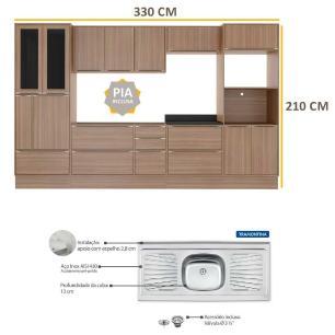 Cozinha Compacta com Pia Inox e Rodapé 11 peças Calábria Multimóveis MP3201 Madeirado