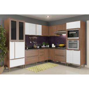 Cozinha Completa Multimóveis com 10 peças Calábria 5461MF Nogueira/Branco