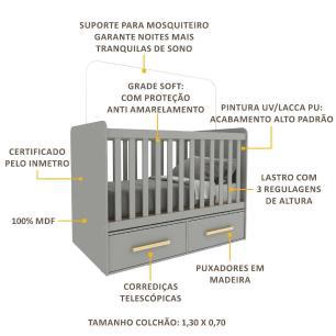 Berço Americano com colchão e duas gavetas puxador perfil 100% MDF Luna Multimóveis Cinza/Natural