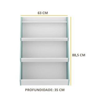 Prateleira/Organizador Multimóveis Zig Zag com 3 prateleiras 100% MDF Azul/Branco