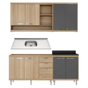 Cozinha Compacta com Pia Inox 5 peças Sicília Multimóveis MP3193 Madeirado/Grafite
