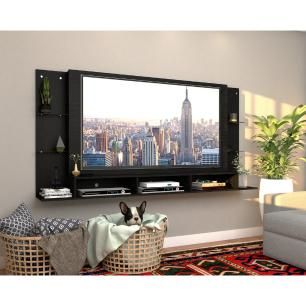 Painel para TV até 65 polegadas com prateleiras de vidro Braga Plus Multimóveis Branco