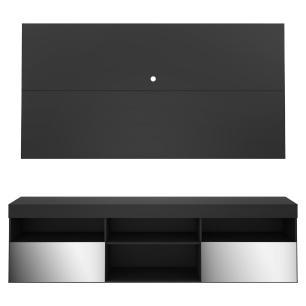 Painel TV até 65 polegadas com Rack Suspenso e Espelho Flórida Multimóveis Preto