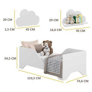 Cama Infantil Soninho com 2 Prateleiras Nuvem para colchão 70 x 150 cm Multimóveis Branca