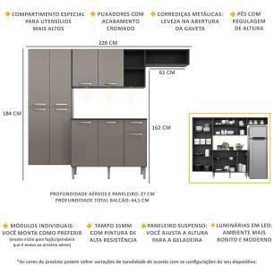 Cozinha Compacta com 3 Leds Armário e Balcão com Tampo Pequim Sun Multimóveis Preta/Lacca Fumê
