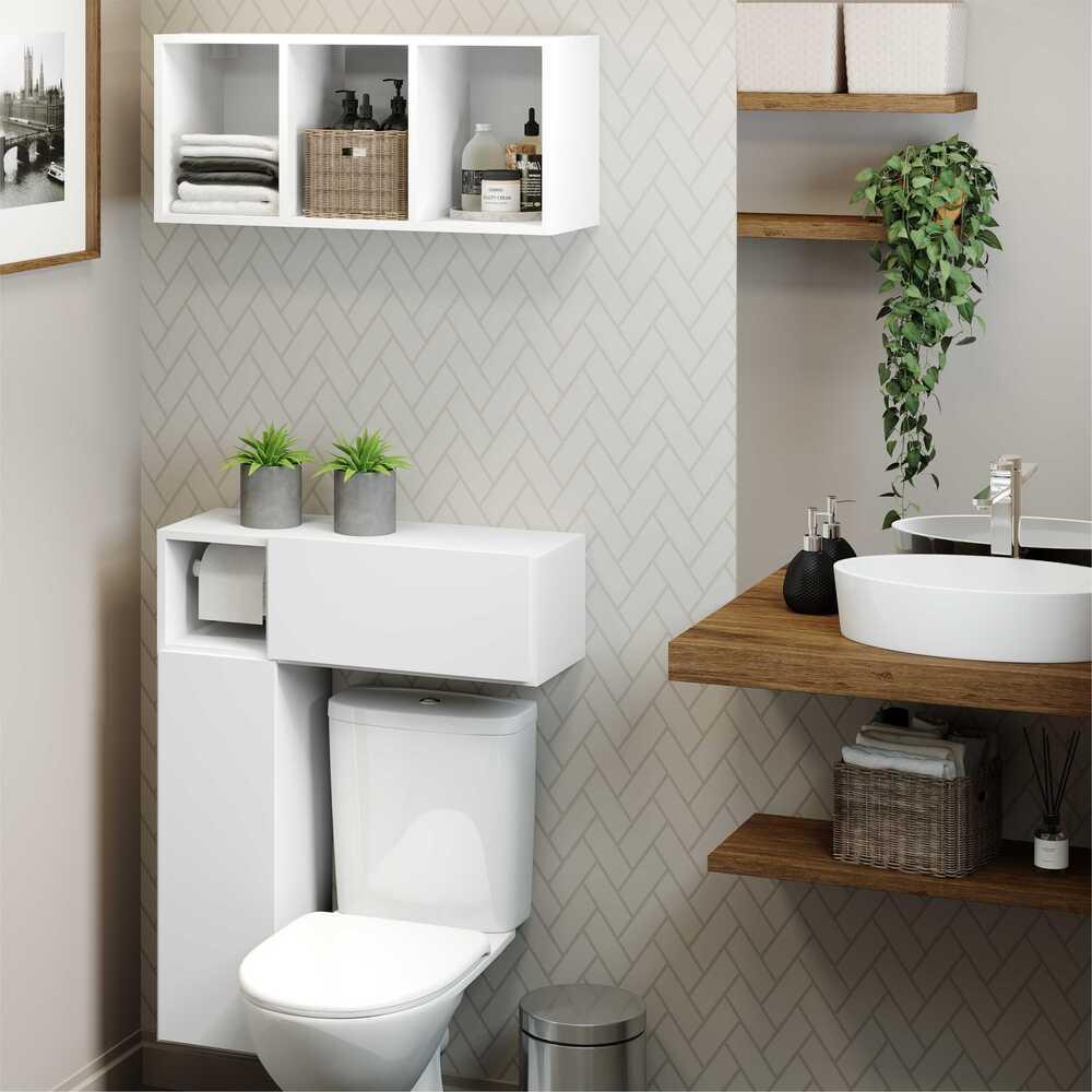 Armário Banheiro p/ Vaso Sanitário c/ Suporte p/ Papel e Nicho Decorativo Nevada Multimóveis Branco