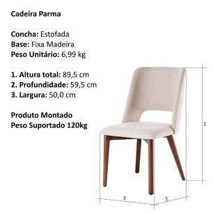 Conjunto de 02 Cadeiras de Jantar Fixa Parma Bege Claro 4612 Base Madeira cor Imbuia