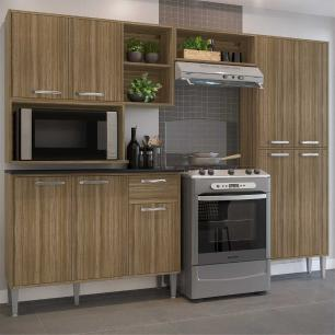 Cozinha Compacta com Armário e Balcão com Tampo Xangai Sun Multimóveis Madeirada