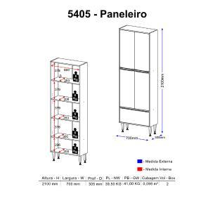 Paneleiro Multimóveis Calábria Duplo 5405 Nogueira/Branco