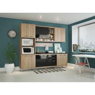 Cozinha Completa Multimóveis com 7 peças Sicília 5815 Argila/Preto