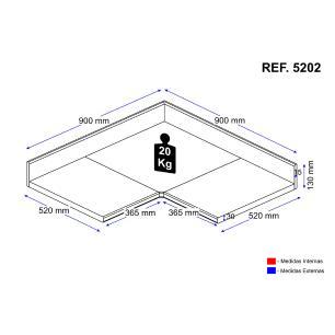 Tampo Multimóveis Multiuso MDP 30mm para balcão de canto Bertioga REF.5202