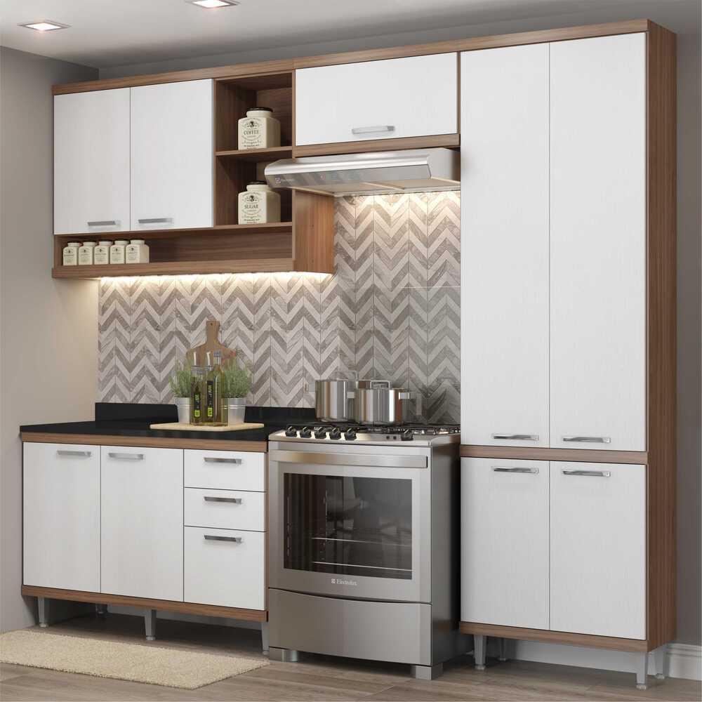 Cozinha Completa 4 peças Berlin Multimóveis Argila/Branco
