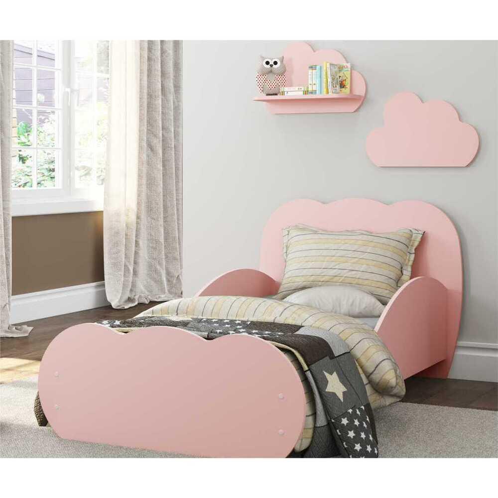 Cama Infantil com 2 Prateleiras para colchão 70 x 150 cm Nuvem Multimóveis Rosa