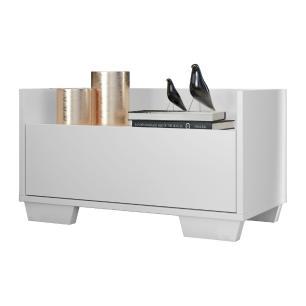 Mesa de Cabeceira 60 cm com Pés Quadrados Multimóveis Branca