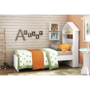 Cama Solteiro com Baú e Cabeceira Casinha para colchão 78 x 188 cm Sophia Multimóveis Branca