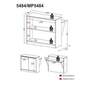 Bancada Balcão/Mesa Cozinha Multimóveis MP5484 Preto