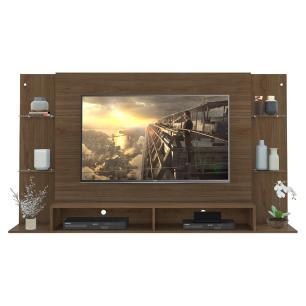 Painel para TV até 60 polegadas com prateleiras de vidro Braga Multimóveis Nogueira